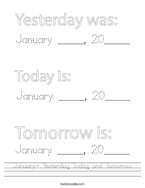 January- Yesterday, Today and Tomorrow Worksheet