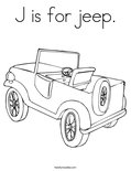 J is for jeep. Coloring Page
