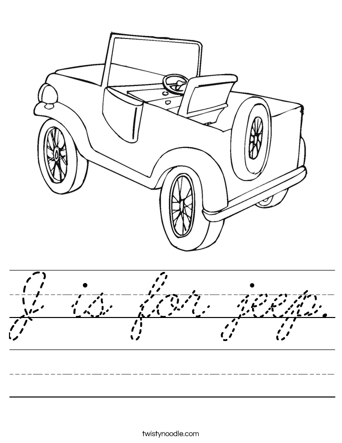 J is for jeep. Worksheet