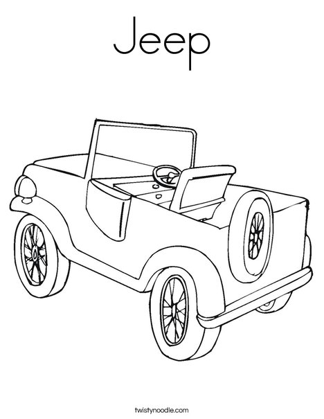 Jeep Coloring Page Twisty Noodle