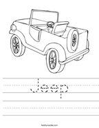 Jeep Handwriting Sheet
