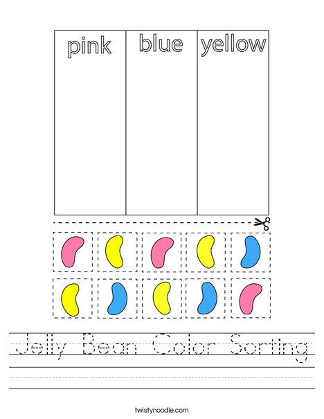 Jelly Bean Color Sorting Worksheet