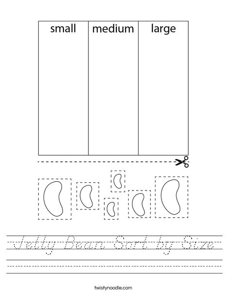 Jelly Bean Sort by Size Worksheet