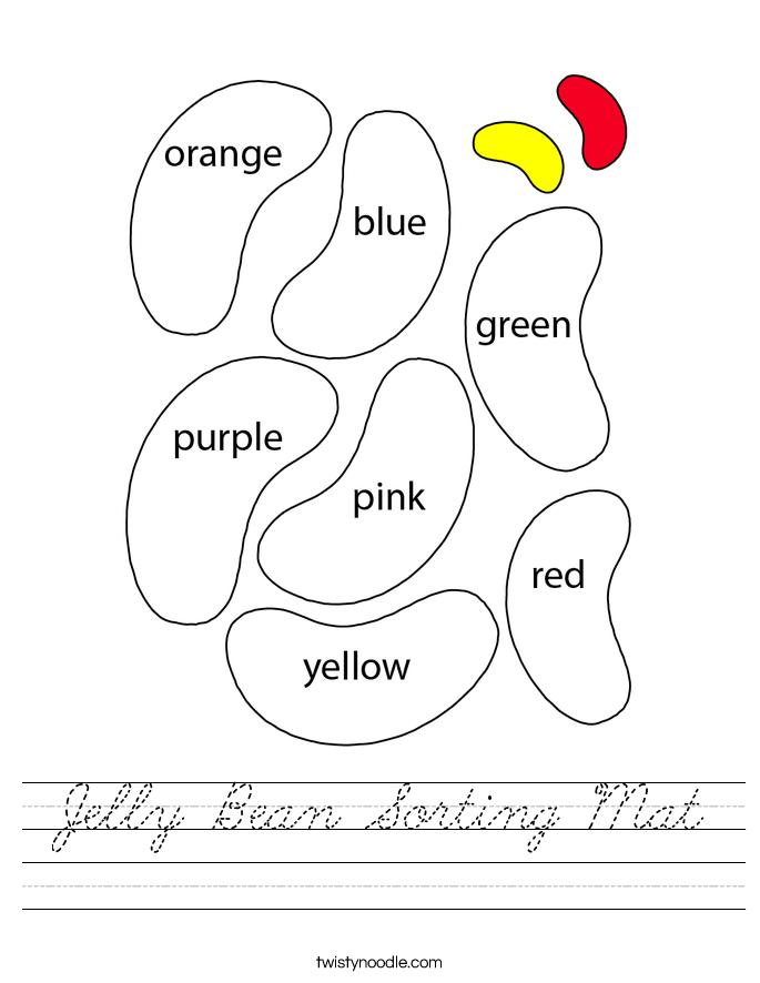 Jelly Bean Sorting Mat Worksheet