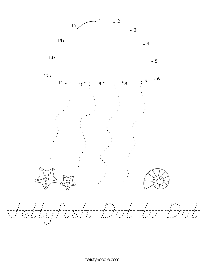 Jellyfish Dot to Dot Worksheet