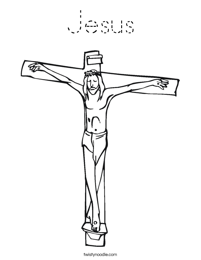Jesus Coloring Page - Tracing - Twisty Noodle