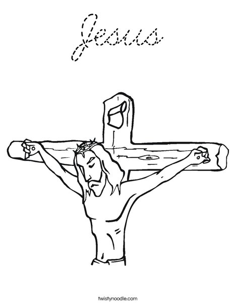 Jesus on Cross Coloring Page