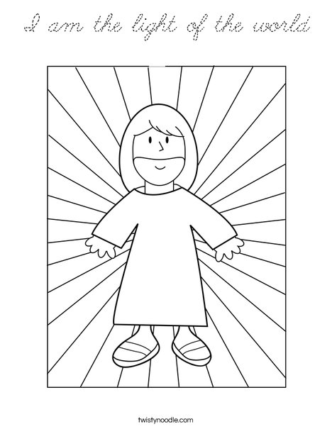 I am the light of the world coloring page cursive for Jesus is the light of the world coloring page