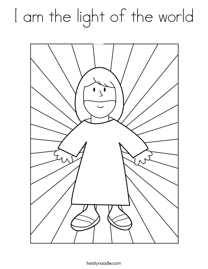 I am the light of the world Coloring Page Twisty Noodle