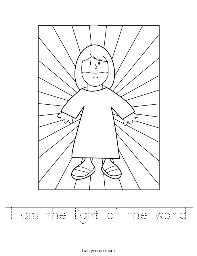I am the light of the world Worksheet