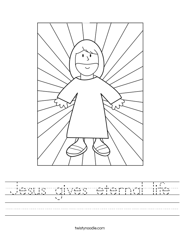 Jesus gives eternal life Worksheet