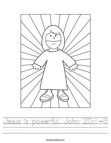Jesus with Light Worksheet