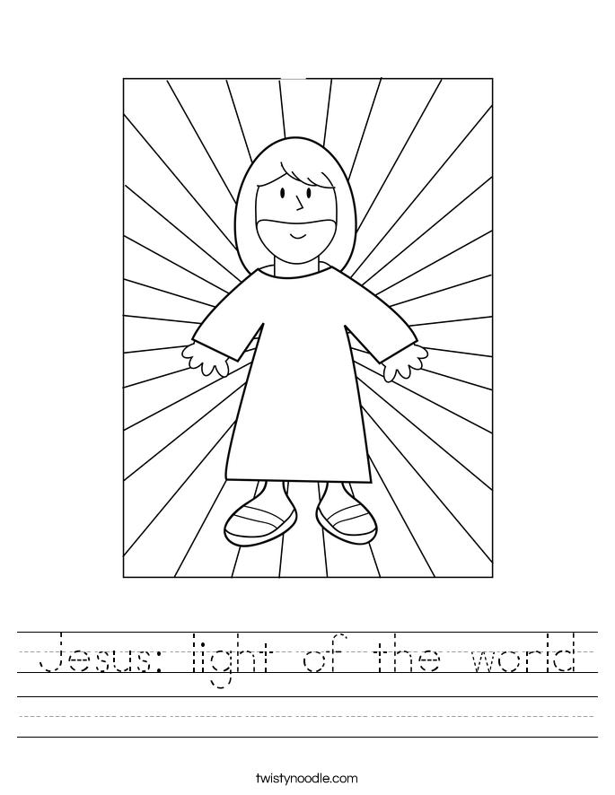 Jesus: light of the world Worksheet
