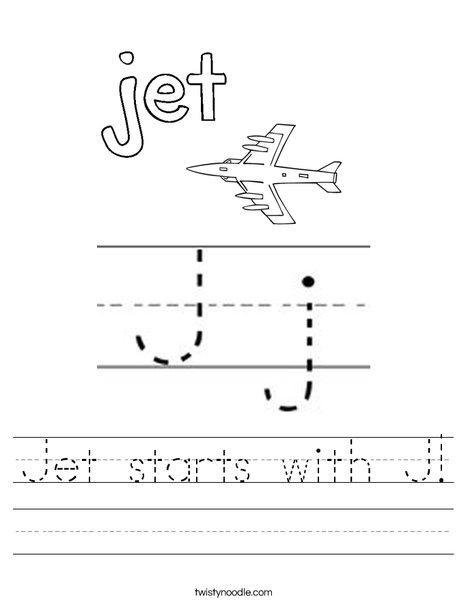 Jet starts with J! Worksheet