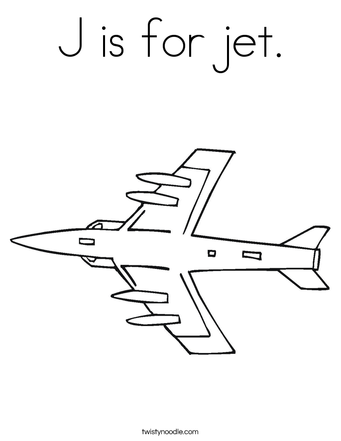J is for jet. Coloring Page