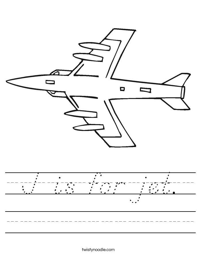 J is for jet. Worksheet