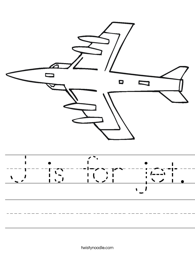 J is for jet. Worksheet