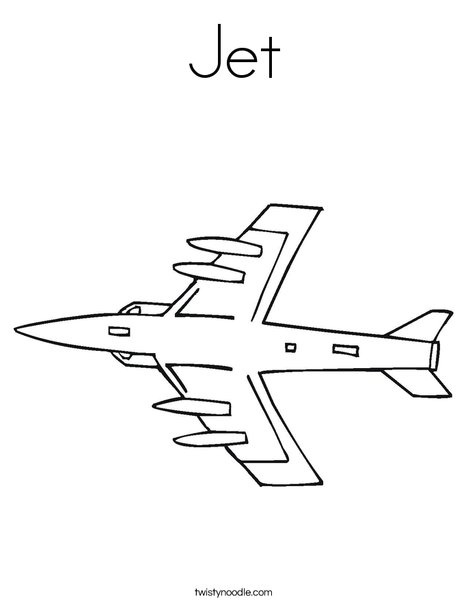 Jet Coloring Page - Twisty Noodle