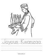 Joyous Kwanzaa Handwriting Sheet