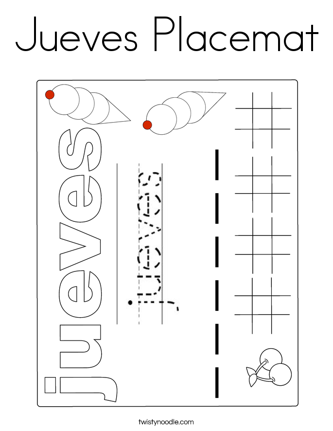 Jueves Placemat Coloring Page