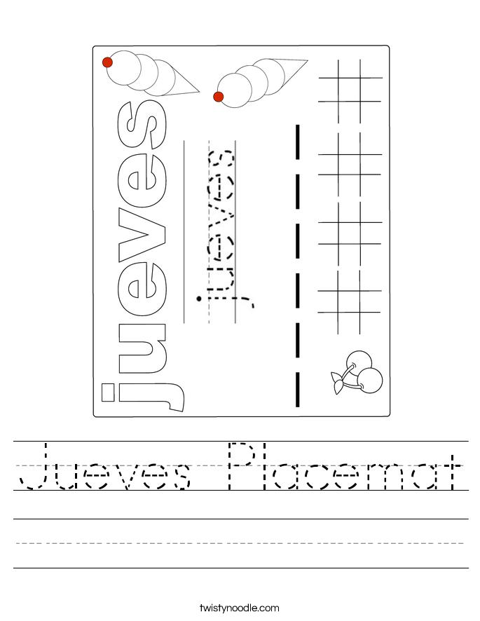 Jueves Placemat Worksheet