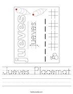 Jueves Placemat Handwriting Sheet