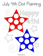 July 4th Dot Painting Coloring Page