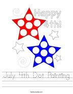 July 4th Dot Painting Handwriting Sheet