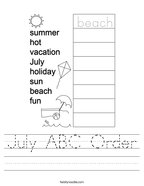 July ABC Order Handwriting Sheet