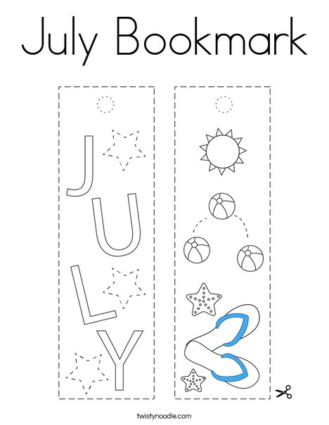 July Bookmark Coloring Page
