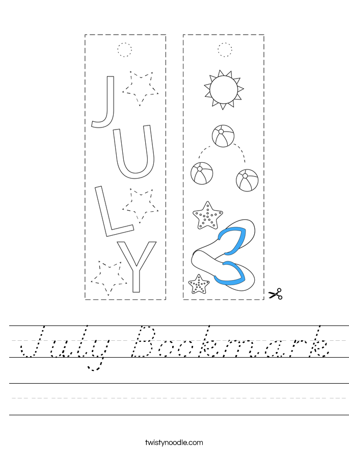 July Bookmark Worksheet