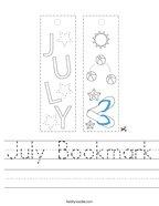 July Bookmark Handwriting Sheet