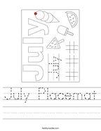July Placemat Handwriting Sheet
