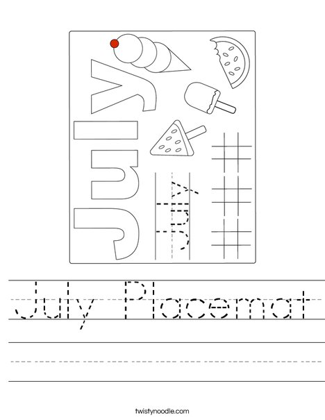 July Placemat Worksheet