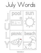 July Words Coloring Page