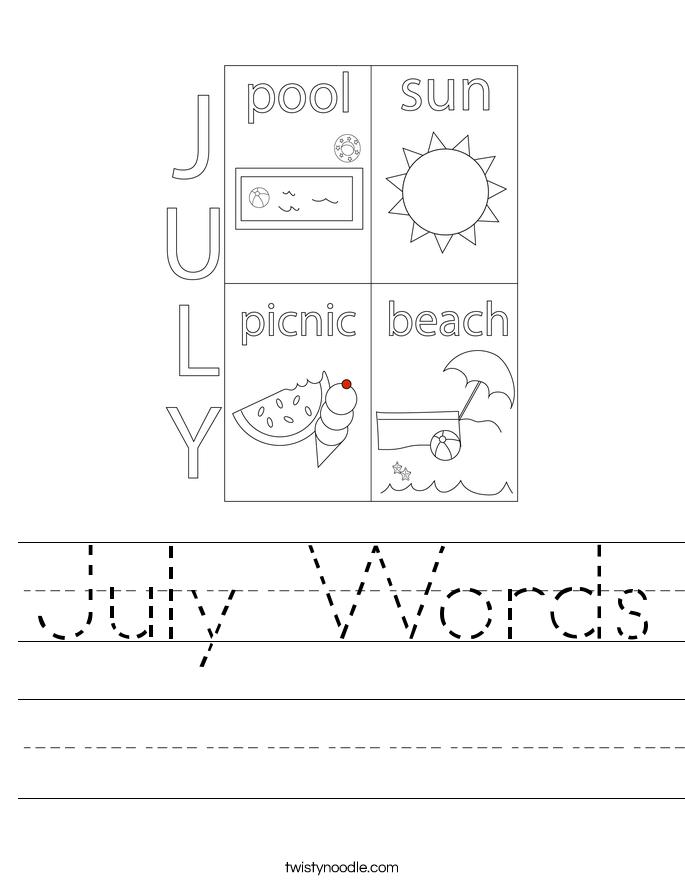 July Words Worksheet