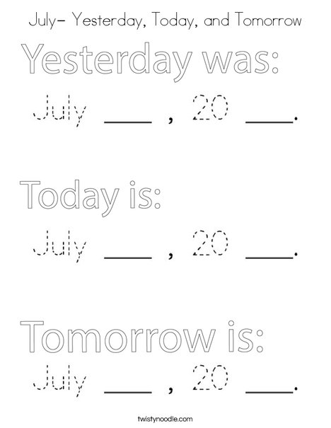 July- Yesterday, Today, and Tomorrow Coloring Page