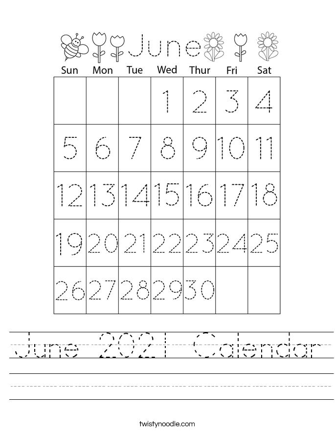 June 2021 Calendar Worksheet