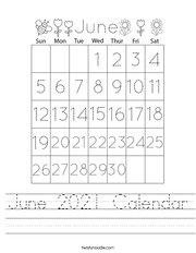June 2021 Calendar Handwriting Sheet