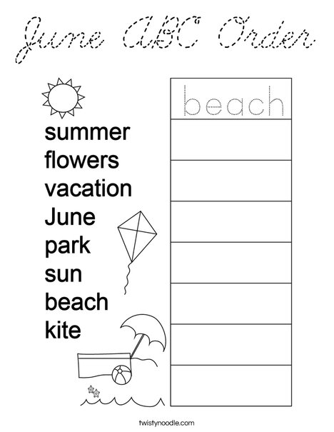 June ABC Order Coloring Page