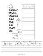 June ABC Order Handwriting Sheet