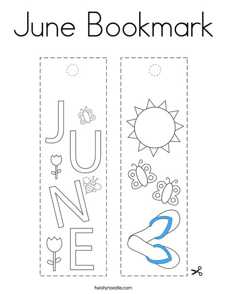 June Bookmark Coloring Page