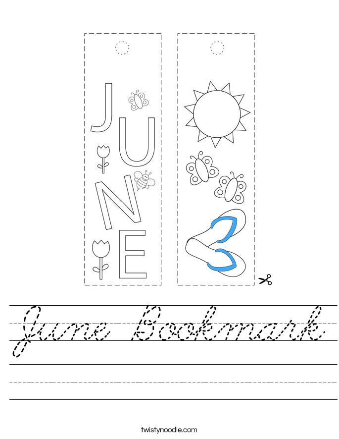 June Bookmark Worksheet