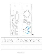 June Bookmark Handwriting Sheet