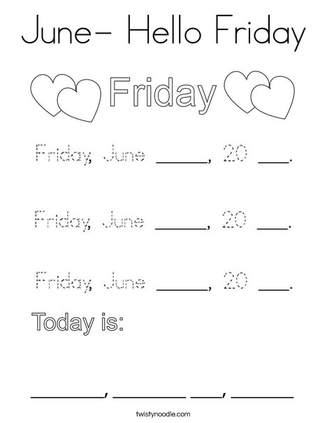 June- Hello Friday Coloring Page