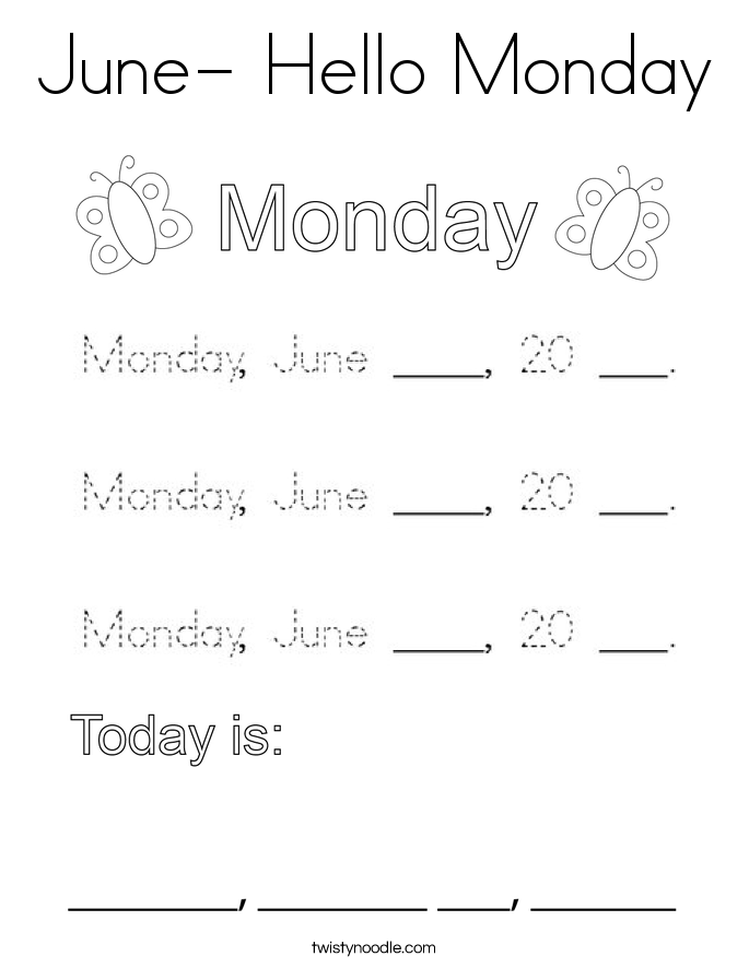 June- Hello Monday Coloring Page