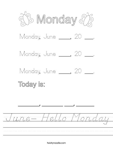 June- Hello Monday Worksheet