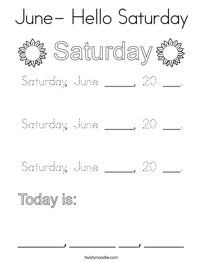 June- Hello Saturday Coloring Page