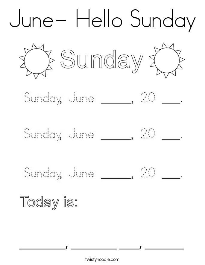 June- Hello Sunday Coloring Page