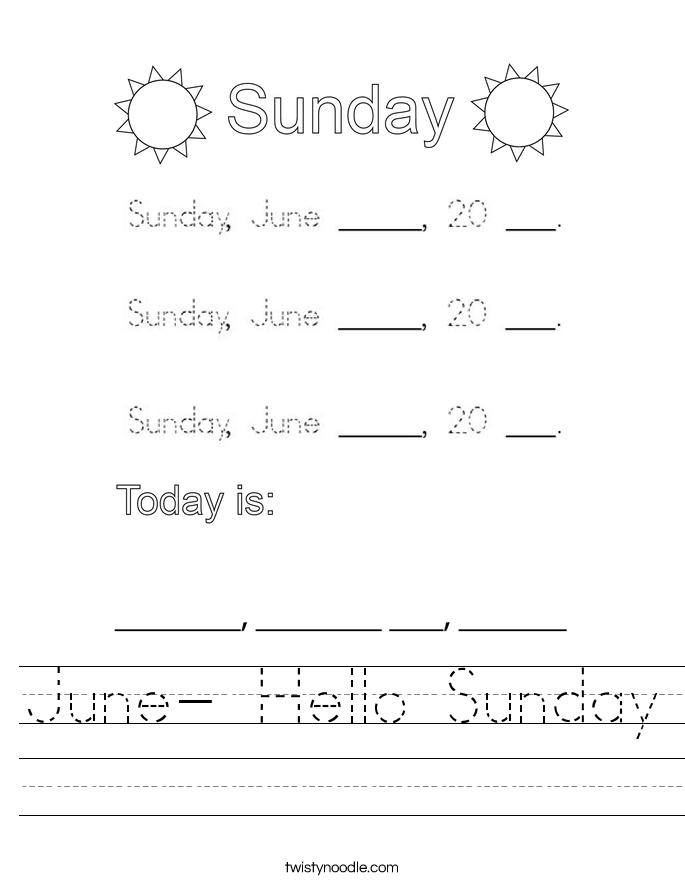 June- Hello Sunday Worksheet